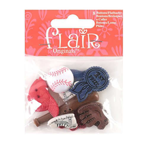 Blumenthal Lansing Buttons, Baseball Themed, Includes Baseball, Bat, Mitt and Others, Perfect for Baseball, Sports and Little League Projects -Red, White, Blue and Brown