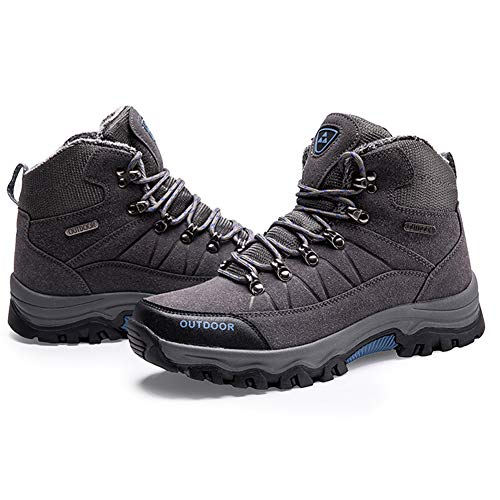 Invierno Piel De Felpa Nieve Gris Ante Botas El Excursionismo Para Calientes Zapatos Hombres 8OUY8x