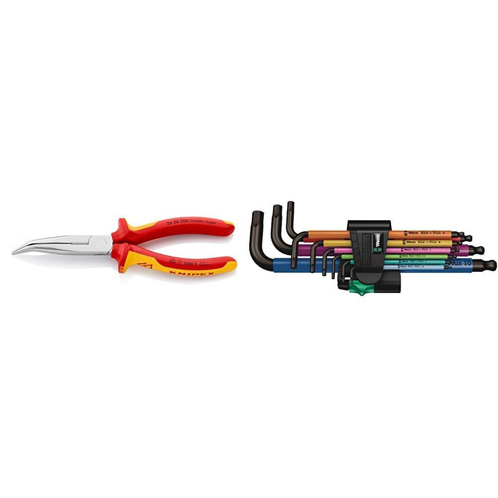 VDE-gepr/üft Flachrundzange mit Schneide Knipex 26 26 200