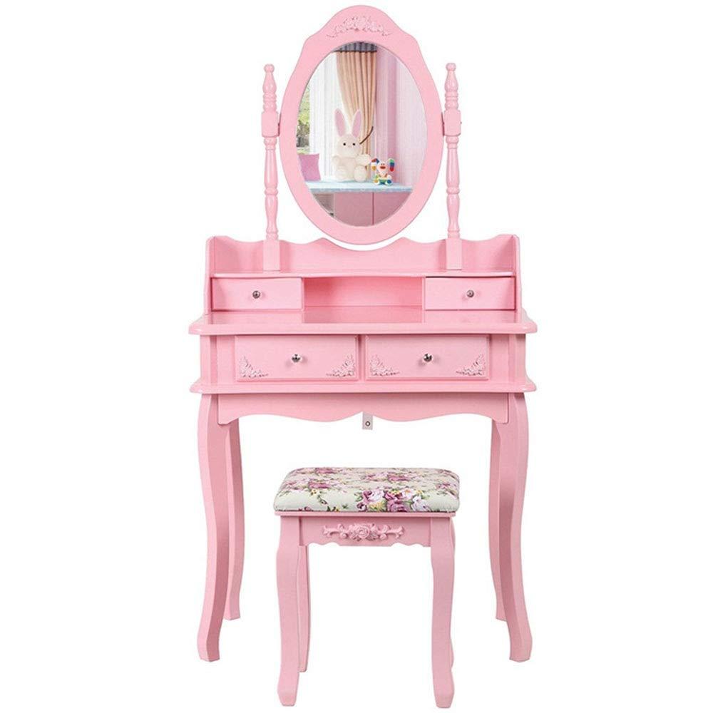 Yhjklm-HOME Premium Qualität Modernes Vanity Set mit Spiegel & gepolstertem Hocker Frisiertisch Vanity Makeup Table Schreibtisch mit Schubladen (Farbe : Rosa, Größe : 75 * 40 * 143.5cm)