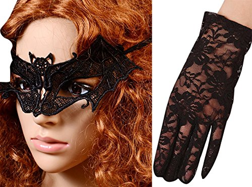 Anmengte Halloween Masquerade Party Cosplay Costume Accessories Gloves+Eye Mask (One size, 10-2) (Homemade Cupcake Costume Kids)