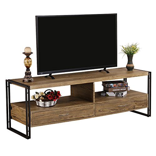 Dvd Storage Oak Tv Stand (FIVEGIVEN Rustic TV Stand for Flat Screens 55 Inch TV with Storage Drawers Sonoma Oak)