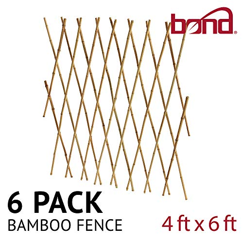 6' Expandable Bamboo Trellis Fence - Bond Manufacturing BF24 6 Pack Expandable Fence, Bamboo Trellis. Size 4' x 6' or 3' x 8', 4-Foot