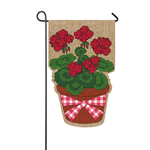 Summer Geraniums Flower Pot Burlap Garden Flag