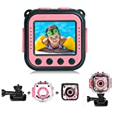 PROGRACE [Upgraded] Kids Waterproof Camera Action Video Digital Camera 1080 HD Camcorder for Girls Toys Gifts Build-in Game(Pink)