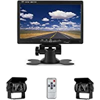 Camecho 12V 24V Vehicle Backup Camera System 2 Rear View Camera Support Night Vision Waterpoof & 7 Monitor with Dual 34 ft AV Cables for Bus / Truck Van / Trailer / RV / Campers