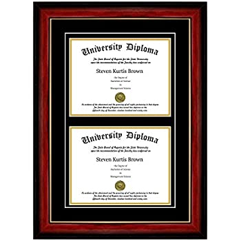 Amazon Com Double Diploma Frame With Double Matting For