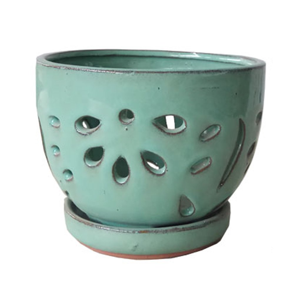 Better-Way Hollow Out Round Ceramic Flower Container Succulent Plant Planter Butterfly Orchid Pot Saucer Windowsill Contemporary Home Decoration (6 inch, Light Green)