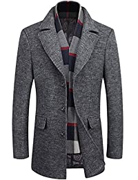 Gihuo Men's Single Breasted Wool Outwear Coat With Removable Scarf