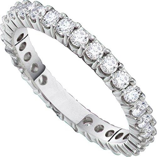 14kt White Gold Womens Round Pave-set Diamond Eternity Wedding Band 2.00 Cttw by JawaFashion