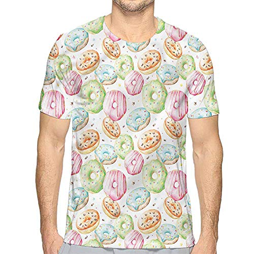 Funny t Shirt Colorful,Delicious Sweet Donuts Men's and Women's t Shirt M