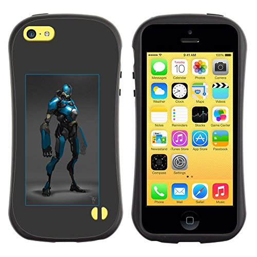 Costume Skin Lol (Pulsar iFace Series Soft TPU Skin Bumper Case Cover for Apple iPhone 5C , Hero Blue Black Robot Costume Comic Character)