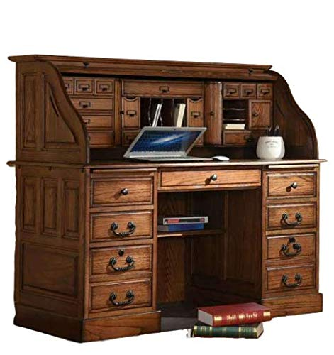 Amazon Com Roll Top Desk Solid Wood 54 Inch Deluxe Executive