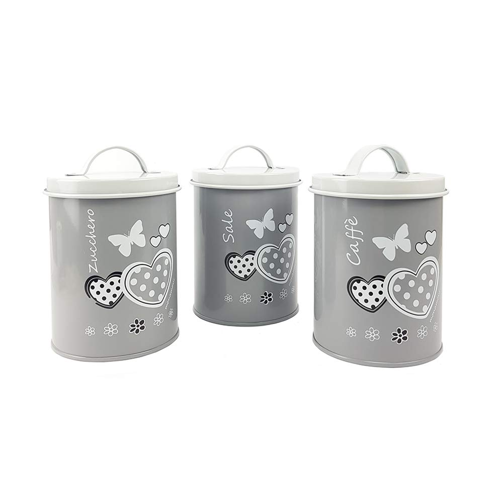 BuyStar Tris Barattoli da Cucina in Latta Vintage con Decorazione Cuori Grigio Sale Zucchero caff/è 3 Colori 15 Cm