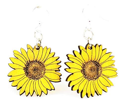 (Green Tree Jewelry Detailed Sunflower Earrings #1475 Lemon Yellow)