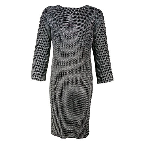 Armor Venue: Medieval Riveted Long Sleeved Chainmail Hauberk Armour Blackened Silver X-Large