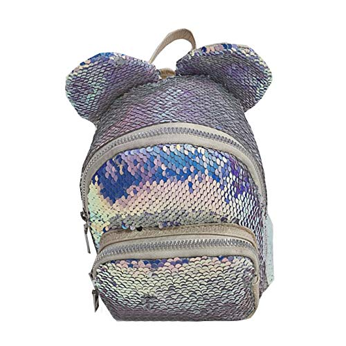 Huarll Fashion Flip Sequin Cute School Backpack for Kids Teen Daypack Glitter Sparkly Bookbag for Kindergarten Elementary (Light blue,Free Size)