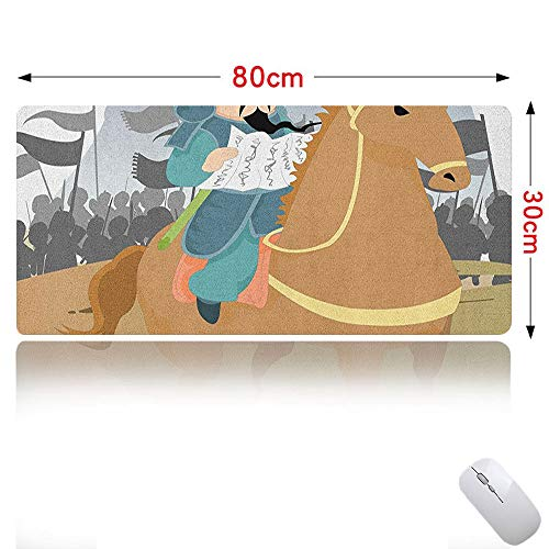 Chinese Mouse pad Large Far Eastern History Theme Military General Leading His Army Antiquity War Scenery Gaming Mouse Map Multicolor 31×12in