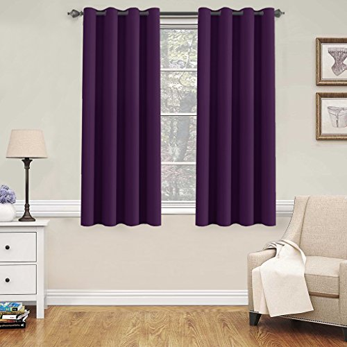 H.Versailtex Window Treatment Blackout Thermal Insulated Room Darkening Solid Grommet Curtains / Drapes for Bedroom (Set of 2 Panels,52 by 63 Inch Long,Plum Purple)