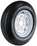 """Kenda Carrier Star (13x4.5""""/5x4.5"""") Custom Spoke Wheel with White Powder-Coat Pinstripe Finish LRC and Trailer Tire Assembly (ST175/80-13)"""