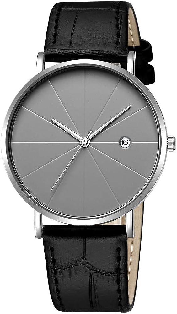 XGUMAOI Fashion Faux Leather Wirstwatch Mens Blue Ray Glass Quartz Analog Watches with Calen