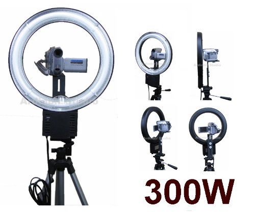 300W Continuous Video Ring Light for Panasonic PV-GS39, GS320, GS90, GS500, GS300, GS19, GS29, GS31, GS150, GS80, GS120, GS9, GS15, GS35, GS400, GS12, GS65 (Camcorder Gs500)
