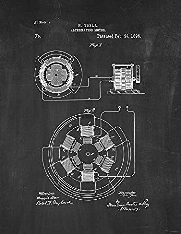 Tesla Alternating Motor Patent Print Art Poster Chalkboard (16