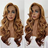 COOLGIRL 27 Mix 613 T30 Synthetic Lace Front Wigs Wavy Blonde Lace Front Wig Natural Baby Hair Glueless Honey Blonde Fiber Hair Replacement For Women 22inch