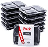 Meal Prep Lunch Containers - 3-Compartment (20 Pack) Plastic, Easy to Open Lids, BPA-Free, Reusable, Stackable, Microwave/Freezer Safe, Bento Box Food Storage Container for Diet Portion Control, ETC.