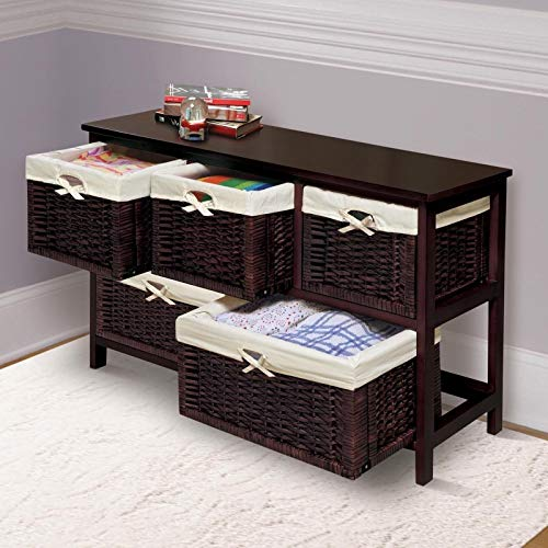 Moon_Daughter Espresso Pull-Out 5 Bin Storage Cabinet Organizer Toys Bathroom Office Baskets ()
