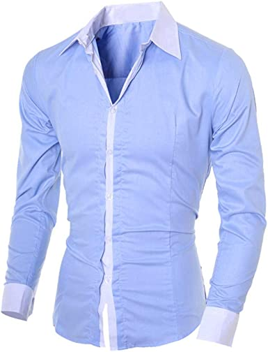 Camisa de Manga Larga Delgada para Hombre Camisa Formal Top Casual de Negocios de Fiesta Color sólido Camisas con Solapa Slim fit Shirt cómoda Superior: Amazon.es: Ropa y accesorios
