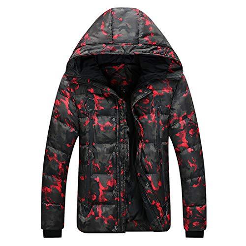 Huicai Abrigo de camuflaje para hombre Chaqueta de algodón casual de camuflaje Abrigo corto con capucha
