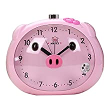 Non Ticking Analog Alarm Clock with Snooze and Nightlight, Kaimao Cartoon Pig Desk Clocks for Kids(Pink)