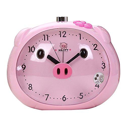 Pingenaneer Cute Cartoon Alarm Clock No ticking Desk Clock with Loud Talking Alarm and Nightlight Snooze Function for Children,Pink