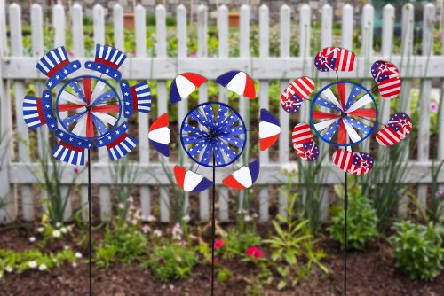 Patriotic Petals - Red White And Blue Patriotic Petal Wind Spinners