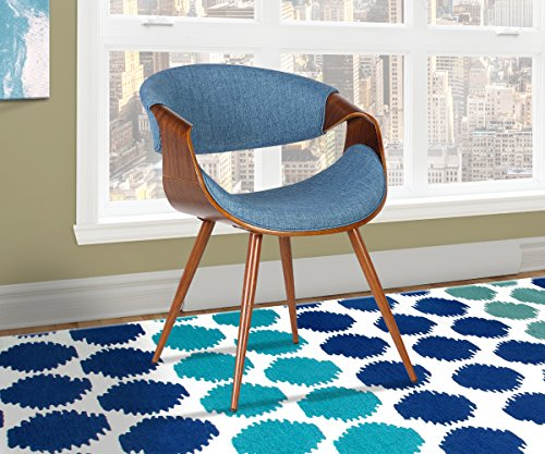 Armen Living Butterfly Dining Chair in Blue Fabric and Walnut Wood Finish
