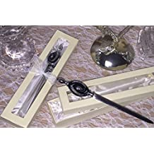 Murano Glass Black and Silver Swirl Letter Opener Gift