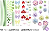 Garden Wall Mural Vinyl Stickers 108 Decals Butterfly Dragonfly Flower Ladybug Bumble Bee Caterpillar Sticker Children Nursery Baby Room Decor Girl Bedroom Decorations Decorative Peel Stick Art Decal