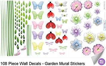 Garden Wall Mural Vinyl Stickers 108 Decals Butterfly Dragonfly Flower Ladybug Bumble Bee Caterpillar Sticker Children