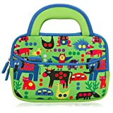 7 - 8 inch Kid Tablet Sleeve, Evecase Cute Zoo Animal Themed Neoprene Carrying Sleeve Case Bag For 7 - 8 inch Kid Tablets (Green & Blue Trim, With Dual Handle and Accessory Pocket)