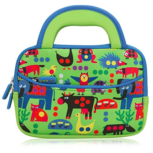 7---8-inch-Kid-Tablet-Sleeve-Evecase-Cute-Zoo-Animal-Themed-Neoprene-Carrying-Sleeve-Case-Bag-For-7---8-inch-Kid-Tablets-Green-Blue-Trim-With-Dual-Handle-and-Accessory-Pocket
