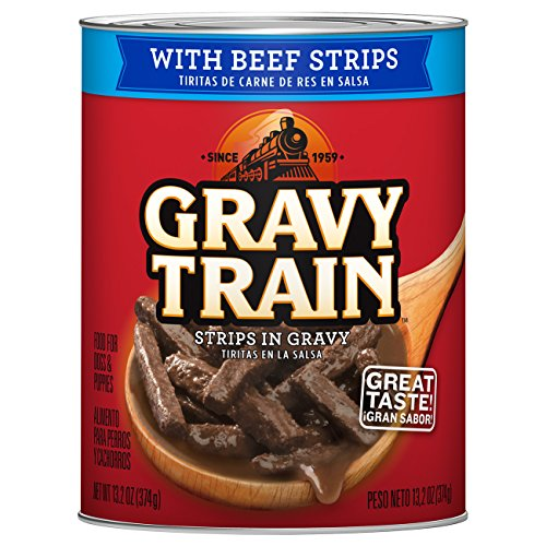 Gravy Train Strips In Gravy with Beef Strips Wet Dog Food, 13.2 oz Cans, 12 Pack (Gravy Train Beef Flavor)