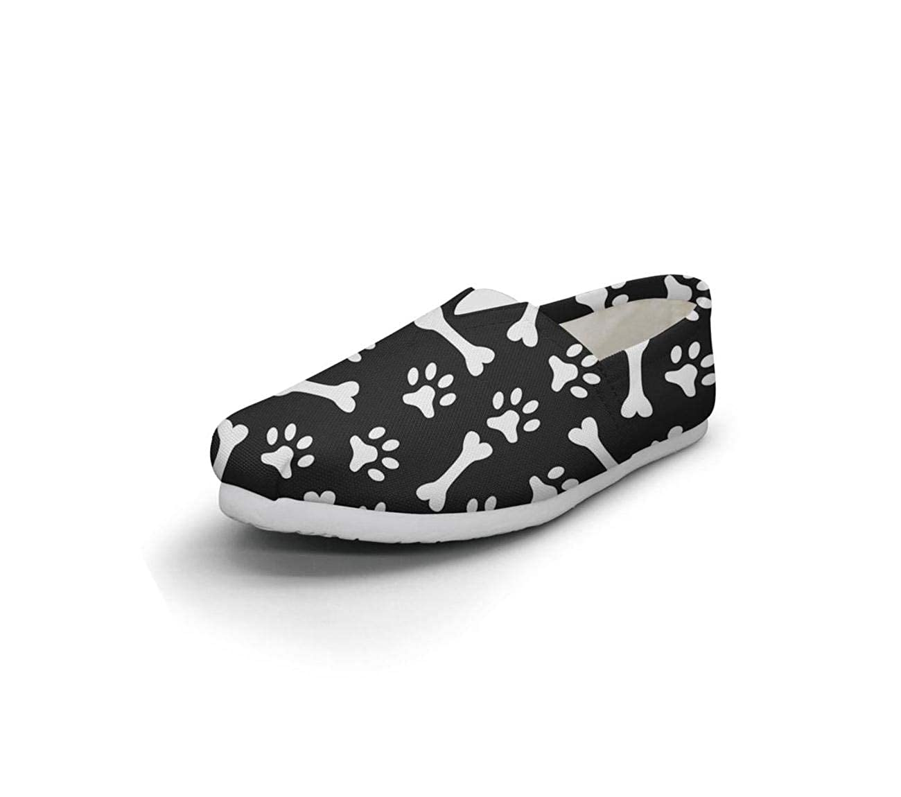 Colorful Paw Dog Blacl Backdrop Seasonal Classics Womens Comfort Flat Slip on Shoes Girls Loafer Shoes
