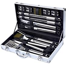 Barbestar 19-Piece BBQ Grill Tool Set, Stainless Steel Utensils with Aluminum Storage Case, Complete Outdoor Grilling Barbecue Accessories