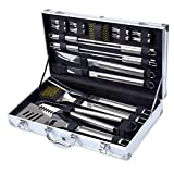 Barbestar 19-Piece BBQ Grill Tool Set - Stainless Steel Utensils with Aluminum Storage Case