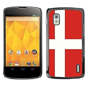 MOBMART Carcasa Funda Case Cover Armor Shell PARA LG Nexus 4 E960 - Denmark Country Flag