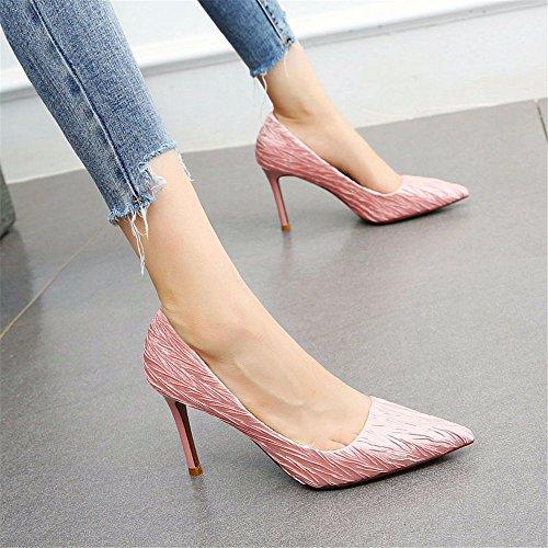 YMFIE Moda Elegante Temperamento Boca Baja Estilete Sexy Zapatos de tacón Alto señoras Zapatos de Trabajo Pink