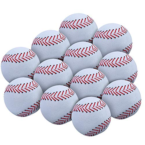 WOWMAX Toy Baseball Plush Fluffy Stuffed Sports Ball Soft Durable Sports Toy Gift for Kids 3 Inches White Set of 12