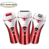 Epilator, Cordless Electric Hair Removal Epilator 3 in 1 Rechargeable Razors Women Bikini Trimmer Hair Removal Shaver, Safe to Use & Easy To Clean For Any Unwanted Fine Hairs (Red) Review