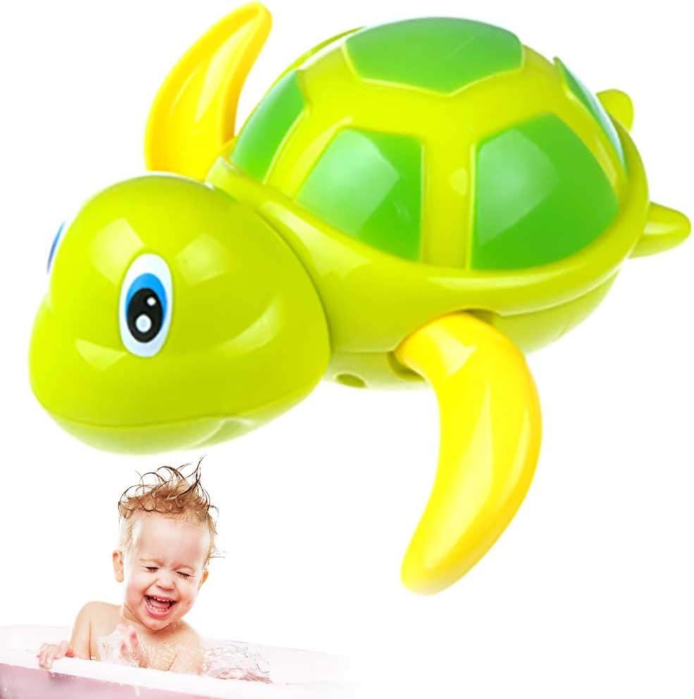 Apofly Verde Piscina Tortugas de plástico del baño del bebé Juguetes mecánicos Tortuga Flotante Viento los Juguetes adorables Bañera Juguetes para los niños Juguetes flotantes